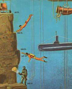 DIVING: free-diving, SCUBA-diving, & deep-sea diving illustration. Artist unknown