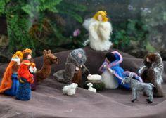 Needle felted-Nativity Set-Nativity-Waldof--Good shepherd--standing doll-needle felt by Daria Lvovsky Wet Felting, Needle Felting, Felt Fairy, Felt Dolls, Soft Sculpture, Felt Animals, Lana, Christmas Crafts, The Incredibles