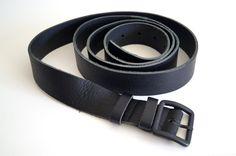 Very long belt 208 CM  Vintage black leather belt by vintagdesign