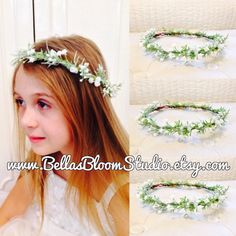 Handmade with artificial Baby Breath flowers and selected greenery This adorable Baby Breath Crown is made with wired vine base made completely adjustable for easy fit And comfort .One yard of flowing ribbon completes the finishing touch.Look great over a simple round drop veil, or fabulous alone.Great for beach weddings, garden weddings,Wonderful for flower girls, bridesmaids, or the bride. This listing is for 1 flower crown Custom orders very welcome! Please contact me if youre interested…