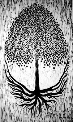 Image result for black and white lino prints mushroom