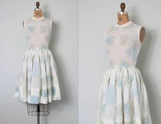 vintage 1950s dress / 50s floral print dress / by SwaneeGRACE