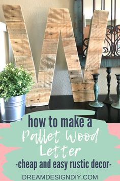 Make this cheap and easy project out of pallets and add some personalized rustic decor to your home. #pallets #diy Rustic Cabin Decor, Wood Home Decor, Diy Home Decor Projects, Diy Home Crafts, Easy Diy Crafts, Diy Wall Decor, Easy Diy Projects, Craft Tutorials, Wood Crafts
