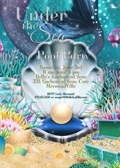 Mermaid Birthday Party Invitation, $11.00