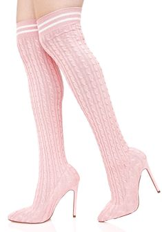 Rosy Gimme Energy Sock Boots will show 'em how ya run it, bb. These dope thigh-high sock boots feature an ultra stretchy 'N curve gripping pinky cable knit construction, pointed toe, spiked heels, and a ribbed cuff with white varsity stripes.