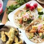 Fried Avocado Tacos With Chipotle Cream, Cabbage, and Pickled Red Onions