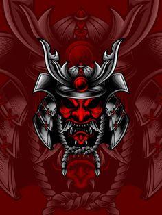 Red head samurai Premium Vector | Premium Vector #Freepik #vector #red