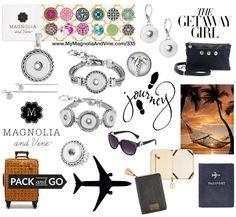 Magnolia & Vine Packing List: - 1 Pendant - 2 Chains (one short, one long) - 1-2 Bracelets - 1 Ring - 1 Pair of Earrings - 1 Pair of Sunglasses - 1 Purse - 1-36 snaps (12 snap holder or 36 snap portfolio) www.MyMagnoliaAndVine.com/335 #magnoliaandvine #travewithmagnoliaandvine #trave