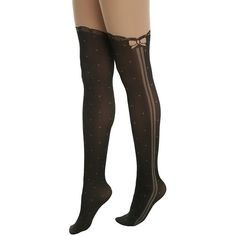 Blackheart Lolita Side Bow Faux Thigh High Tights Hot Topic ($10) ❤ liked on Polyvore featuring intimates, hosiery, tights, sheer dot tights, polka dot stockings, pantyhose stockings, thigh high pantyhose and lace tights