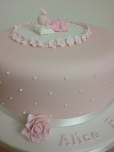 christening cake girl - with my little figurine on top Fondant Flower Cake, Fondant Bow, Fondant Cakes, 3d Cakes, Fondant Figures, Baby Girl Christening Cake, Baby Girl Cakes, Baby Mold, Baby Cake Topper