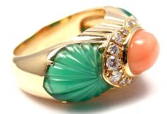 CARTIER Green Chalcedony Pink Coral Diamond Yellow Gold Ring | From a unique collection of vintage band rings at https://www.1stdibs.com/jewelry/rings/band-rings/