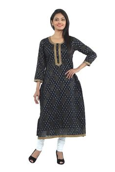 Flaunt a nonchalant look wearing this black coloured kurta by SEVENEAST. Made from Jacquard fabric,with golden lace on neck. this kurta is light in weight and perfect for daily wear. Team it with contrasting churidar or pallazo pants to complete your look for the day...visit: http://www.seveneast.in/index.php?route=product/product&path=80_85&product_id=147
