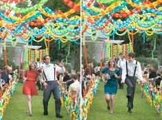 Backyard Colorful Paper Chain Wedding on Green Wedding Shoes