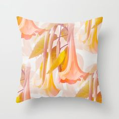 Beautiful Flowers and Leaves in Delicious Color White Background Throw Pillow by pivivikstrm Couch Pillows, Down Pillows, Floor Pillows, Pillow Sale, Designer Throw Pillows, Pillow Design, Flower Decorations, Home Buying, Pillow Inserts
