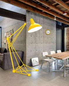 Big yellow lamp for this office interior.
