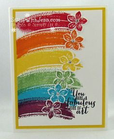 handmade card ... Work of Art swoosh stamped in rainbow colors ... flowers at the end ... pretty card ... Stampin'Up!