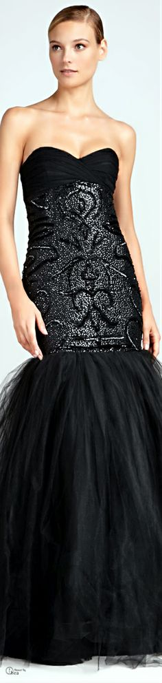 Monique Lhuillier ● Black Beaded Mermaid Gown Monique Lhuillier Dresses, Black Gowns, Long Dresses, Formal Dresses, Beautiful Evening Gowns, Mermaid Gown, Black Style, Virtual Closet, Couture Fashion