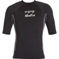 BILLABONG Spinning Short Sleeve Quick Dry Lightweight Rash Vest Top Black Neoprene Waist Band Circular logo on front