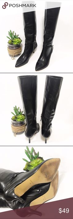 "Nine West Leather Tall Boots {Plush Moon} Crafted in leather with a slender 3 1/2"" heel. Detailed with a zipper closure to make it easy to slip. 15"" calf circumference. 2.5"" heel. 8M in great condition pre-owned condition. Clean inside and outside. Heels have a couple of indentation marks but no damage. Nine West Shoes Heeled Boots"