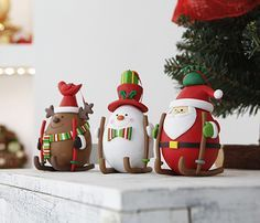 Muñecos leroy Handmade Christmas Crafts, Easy Christmas Ornaments, Polymer Clay Christmas, Christmas Sewing, Noel Christmas, Polymer Clay Crafts, Wafer Paper Flowers, Santa Decorations, Christmas Centerpieces