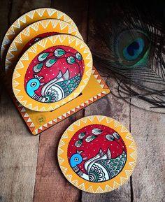 Wooden Painting, Wooden Art, Madhubani Art, Madhubani Painting, Bridesmaid Belt, Coaster Art, Pichwai Paintings, Cd Art, Indian Folk Art