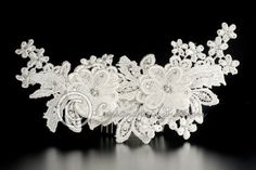 BRIDAL COMB OF IVORY LACE FLOWER WITH RHINESTONES  $57.99