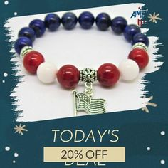 Today Only! 20% OFF this item.       SHOP URL IN BIO       Follow us on Instagram to be the first to see our exciting Daily Deals. Today's Product: Sale -  American Pride Flag Charm Bracelet Red White Blue Bracelet Patriotic Bracelet Lapis Lazuli Coral White Jade Patriotic Bracelet Ameri.  Shop: AllAmericanBracelets.  Buy now: http://ift.tt/2on0Tq3 . . . #etsy #etsyseller #etsyshop #etsylove #etsyfinds #etsygifts #sale #dailydeal #dealoftheday #todayonly #instadaily #starsandstripes…