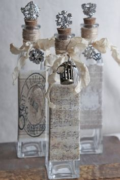 Exceptional Decorative Bottles With Vintage French Accents/Repurposed Bottles