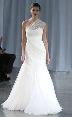 Monique Lhuillier Wedding Dresses: Asymmetric twisted tulle gown
