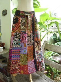 PATCHWORK Boho Gypsy A Shape Long Skirt  PK0701 by fantasyclothes