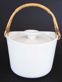 Arabia Ulla Procope Kilta Finland White Jar Cane Handle Lid Excellent Cond 1957 | eBay Cane Handles, Cheese Dome, Vintage Cups, Vintage Textiles, Bavaria, Scandinavian Design, Finland, Simple Designs, Mid Century