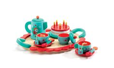 This bright and colourful wooden tea set painted in a beautiful teal blue and red with a charming fox motif, will give great pleasure to girls and boy...