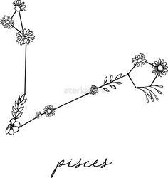 'Pisces Zodiac Wildflower Constellation' Sticker by aterkaderk - Pisces Zodiac . - 'Pisces Zodiac Wildflower Constellation' Sticker by aterkaderk – Pisces Zodiac Wildflower Co -