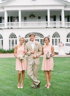 Bridal Party Spring romantic  classic bridesmaids pink cream garden party peach soft bridesmaid blush dress wedding dresses Charleston South Carolina