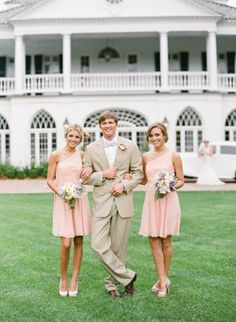 Bridal Party Spring romantic classic bridesmaids pink cream garden party peach soft bridesmaid blush dress wedding dresses Charleston South Carolina