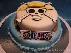 One Piece, comic fondant cake Anime Cake, Home Art, Fondant, Baking, Birthday, Desserts, Cakes, Ideas Para, Comic