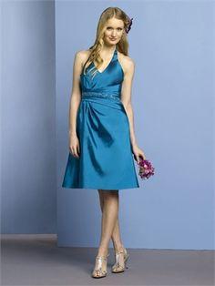 Knee-length Halter With Belt Ocean Bridesmaid Dress BD0024 www.simpledresses.co.uk £64.0000