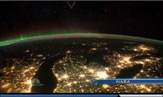 Michigan as seen from the International Space Station. Detroit, Lansing and Kalamazoo are quite lit up, but St. Ignace is lit up quite brightly too!