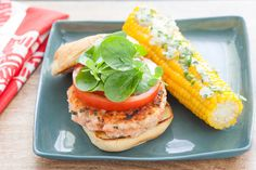 Salmon Burgers & Corn on the Cob with Basil Butter. Visit http://www.blueapron.com/ to receive the ingredients.