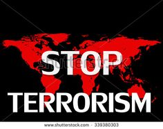 Stop terrorism,world map and black background - stock photo