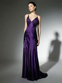 A-Line Sheath / Column V-Neck Long / Floor-Length Elastic Silk-like Satin Prom Dress [L6G7GCDZ] - $159.99 : 333Shop.com