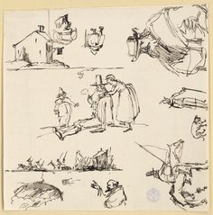 Ett värdshus Diverse figurskisser An inn, figure sketches