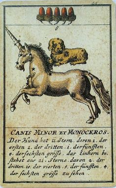 """Licorne & chien - """"Canis Minor & Monoceros"""" - Carte à jouer… Medieval Tapestry, Medieval Art, Ancient Astronomy, Unicorn Illustration, Vintage Playing Cards, Unicorn Art, Rainbow Art, Graphic Design Posters, Book Of Shadows"""