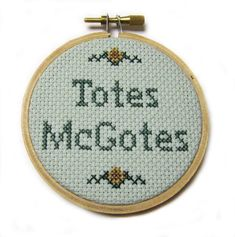 Totes McGotes - I Love You, Man - Cross Stitch Hoop on Etsy, $22.00