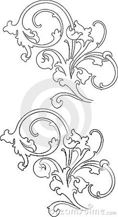 Illustration about Baroque Two Styles: Traditional and Calligraphy. All Curves Separately. Illustration of best, design, most - 3650434 Baroque Pattern, Baroque Design, Embroidery Patterns, Hand Embroidery, Machine Embroidery, Pattern Drawing, Pattern Art, Filigranes Design, Lesage