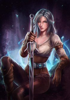 alexandra_mae arm_strap ciri facial_scar gloves green_eyes leather leather_gloves looking_at_viewer medium_hair scar scar_on_cheek signature silver_hair sitting solo sword the_witcher watermark weapon web_address Witcher Art, The Witcher 3, Ciri Witcher, High Fantasy, Fantasy Art, Fantasy Images, Fantasy Women, Anime Fantasy, Facial Scars