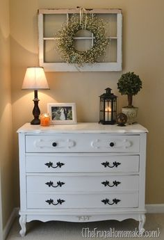 Dresser makeover.  Love the window above the dresser.