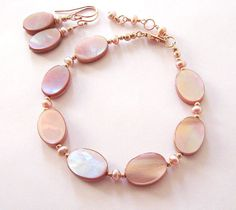 Bracelet Earring Set Shades of Pink Mother by SendingLoveGallery