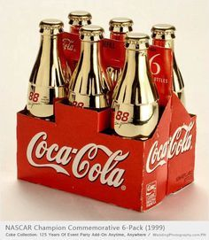 COCA-COLA ~ six pack of gold contour bottles honoring 1999 NASCAR Champion  #88 Dale Jarett. #packaging #beverage