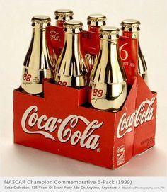 COCA-COLA ~ six pack of gold contour bottles honoring 1999 NASCAR Champion  #88 Dale Jarett. #packaging #beverage